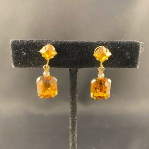 Vintage amber colored rhinestone drop clip earring